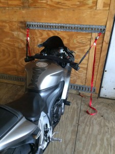 Motorcycle strapped and ready for Shipping